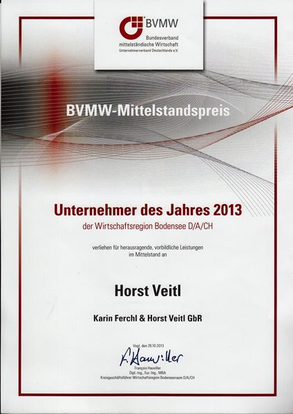 Horst Veitl - Unternehmer des Jahres - Urkunde