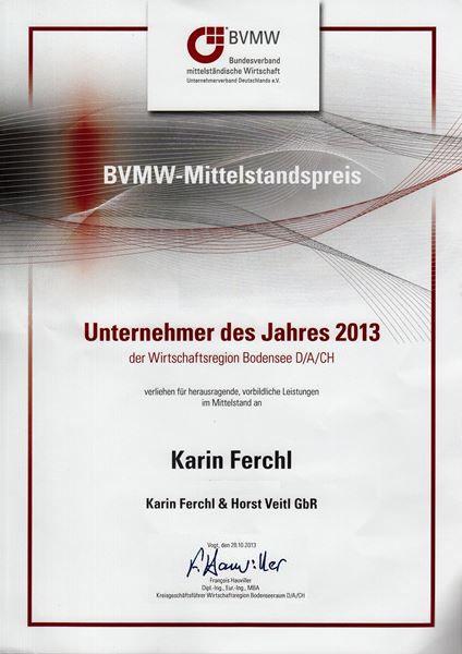 Karin Ferchl - Unternehmer des Jahres - Urkunde